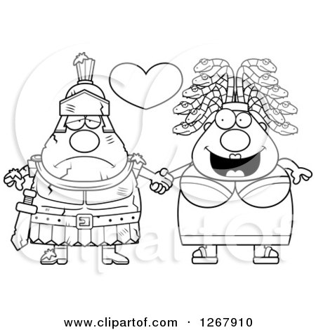 Clipart of a Black and White Chubby Gorgon Medusa Woman Holding Hands with a Stone Knight - Royalty Free Vector Illustration by Cory Thoman