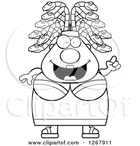Clipart of a Black and White Smart Chubby Gorgon Medusa Woman with Snake Hair and an Idea - Royalty Free Vector Illustration by Cory Thoman