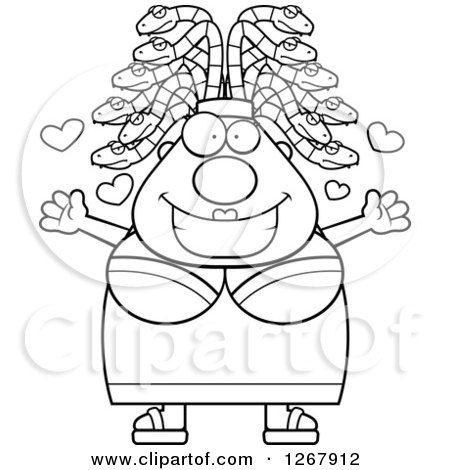Clipart of a Black and White Loving Chubby Gorgon Medusa Woman with Snake Hair - Royalty Free Vector Illustration by Cory Thoman