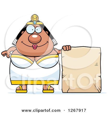 Clipart of a Happy Chubby Cleopatra Egyptian Pharaoh Woman with a Stone Sign - Royalty Free Vector Illustration by Cory Thoman