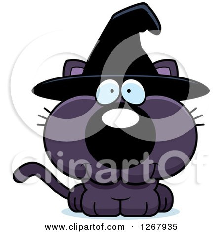 Clipart of a Happy Purple Halloween Witch Cat - Royalty Free Vector Illustration by Cory Thoman