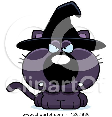 Clipart of an Angry Purple Halloween Witch Cat - Royalty Free Vector Illustration by Cory Thoman