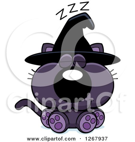 Clipart of a Napping Purple Halloween Witch Cat - Royalty Free Vector Illustration by Cory Thoman