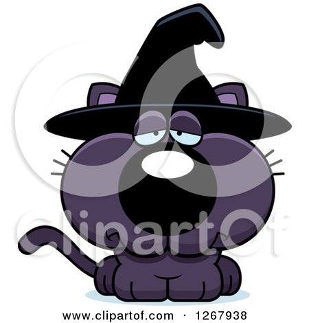 Clipart of a Depressed Purple Halloween Witch Cat - Royalty Free Vector Illustration by Cory Thoman