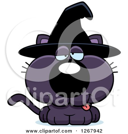 Clipart of a Drunk Purple Halloween Witch Cat - Royalty Free Vector Illustration by Cory Thoman