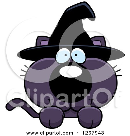 Clipart of a Happy Purple Halloween Witch Cat over a Sign - Royalty Free Vector Illustration by Cory Thoman
