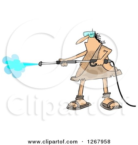 Clipart of a Hairy Caveman Operating a Pressure Washer - Royalty Free Illustration by djart