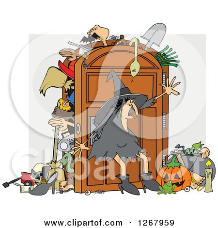 Clipart of a Witch Trying to Keep Everything in Her Full Closet - Royalty Free Vector Illustration by djart