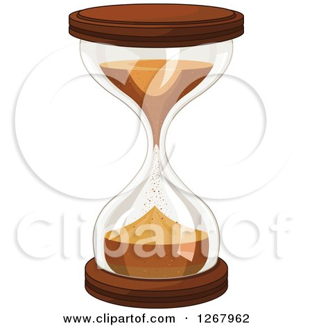 Clipart of a Wood Hourglass with Falling Sand - Royalty Free Vector Illustration by Pushkin