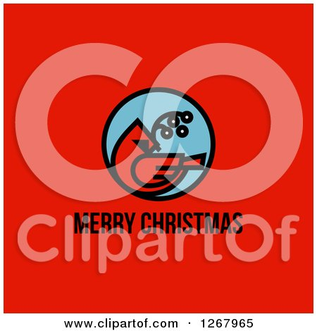 Clipart of a Merry Christmas Greeting Below a Cardinal on Red - Royalty Free Vector Illustration by elena