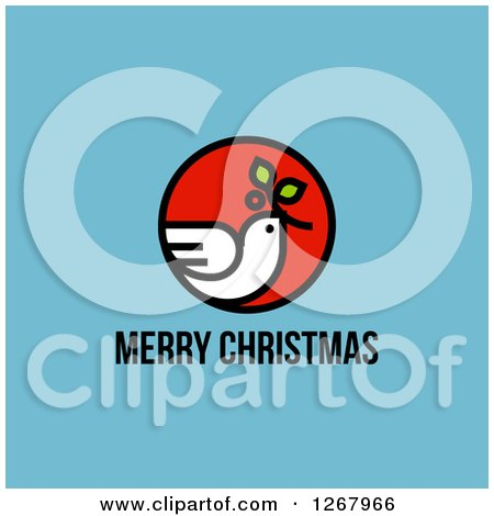 Clipart of a Merry Christmas Greeting Below a Peace Dove on Blue - Royalty Free Vector Illustration by elena