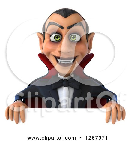 Clipart of a 3d Dracula Vampire Smiling over a Sign - Royalty Free Illustration by Julos