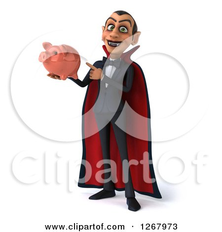 Clipart of a 3d Dracula Vampire Holding and Pointing to a Piggy Bank - Royalty Free Illustration by Julos
