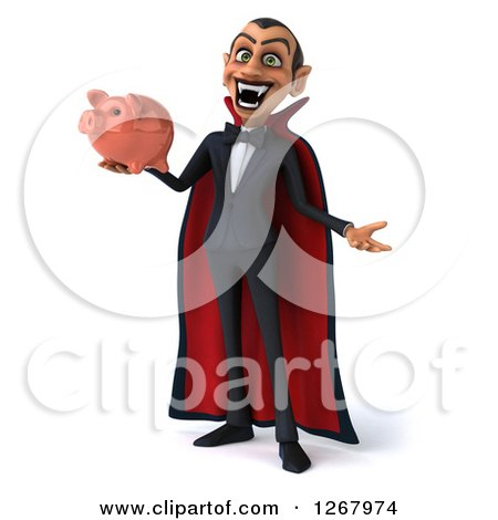 Clipart of a 3d Dracula Vampire Shrugging and Holding a Piggy Bank - Royalty Free Illustration by Julos