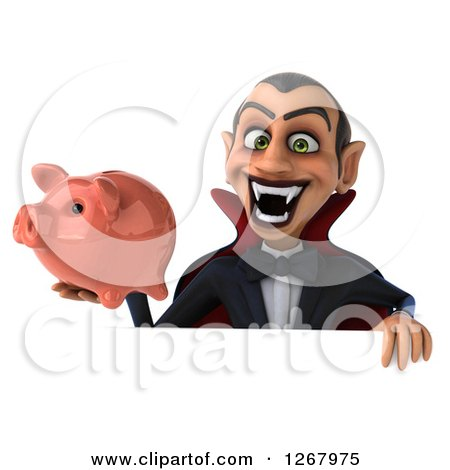 Clipart of a 3d Dracula Vampire Grinning and Holding a Piggy Bank over a Sign - Royalty Free Illustration by Julos