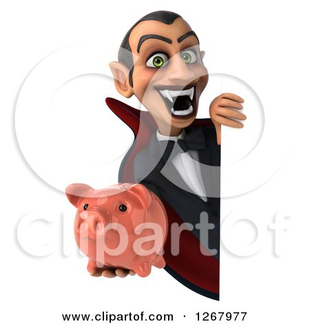 Clipart of a 3d Dracula Vampire Grinning and Holding a Piggy Bank Around a Sign - Royalty Free Illustration by Julos