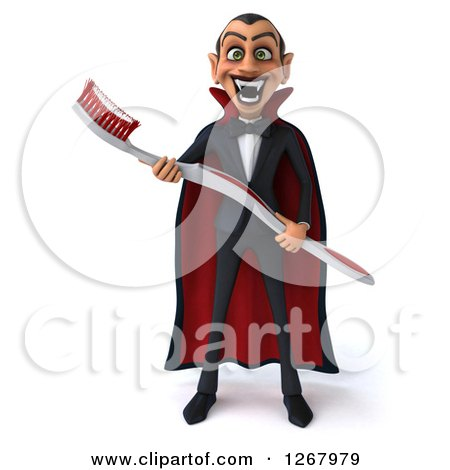 Clipart of a 3d Dracula Vampire Grinning and Holding a Giant Toothbrush - Royalty Free Illustration by Julos