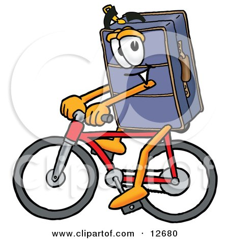 Clipart Picture of a Suitcase Cartoon Character Riding a Bicycle by Toons4Biz