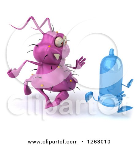 Clipart of a 3d Purple Germ Chasing a Condom - Royalty Free Illustration by Julos