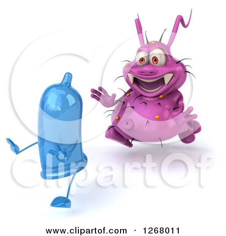 Clipart of a 3d Purple Germ Chasing a Condom 2 - Royalty Free Illustration by Julos