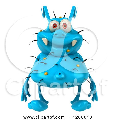 Clipart of a 3d Blue Germ - Royalty Free Illustration by Julos