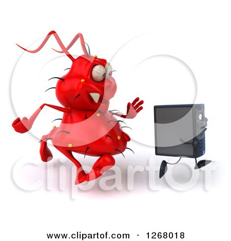 Clipart of a 3d Red Virus Monster Chasing a Computer Tower - Royalty Free Illustration by Julos