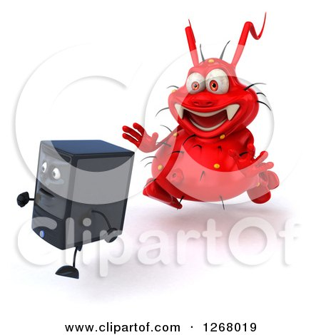 Clipart of a 3d Red Virus Monster Chasing After a Computer Tower - Royalty Free Illustration by Julos