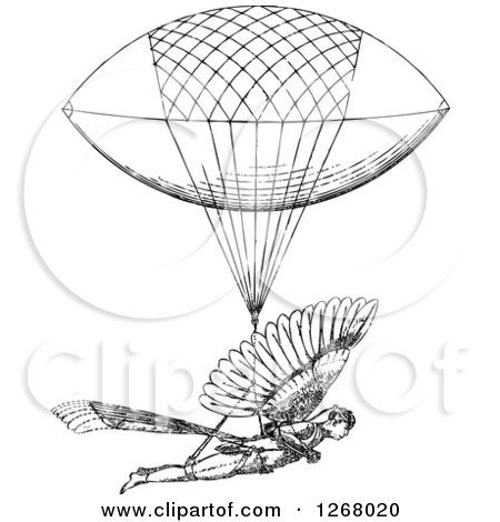 Clipart of a Black and White Man with a Flying Machine - Royalty Free Vector Illustration by BestVector