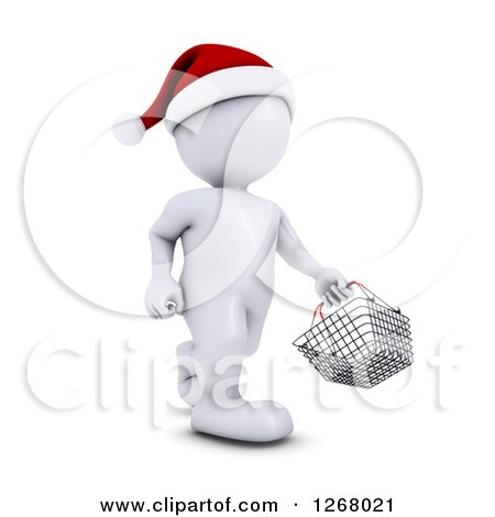 Clipart of a 3d White Man Christmas Shopping and Carrying a Shopping Basket - Royalty Free Illustration by KJ Pargeter