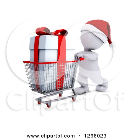 Clipart of a 3d White Man Christmas Shopping and Pushing a Gift in a Cart - Royalty Free Illustration by KJ Pargeter