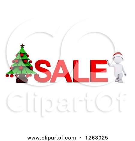 Clipart of a 3d White Man with SALE Text and a Christmas Tree - Royalty Free Illustration by KJ Pargeter