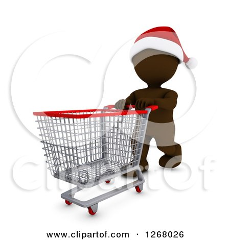 Clipart of a 3d Brown Man Christmas Shopping and Pushing an Empty Cart - Royalty Free Illustration by KJ Pargeter