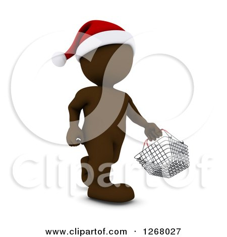Clipart of a 3d Brown Man Christmas Shopping and Carrying a Shopping Basket - Royalty Free Illustration by KJ Pargeter