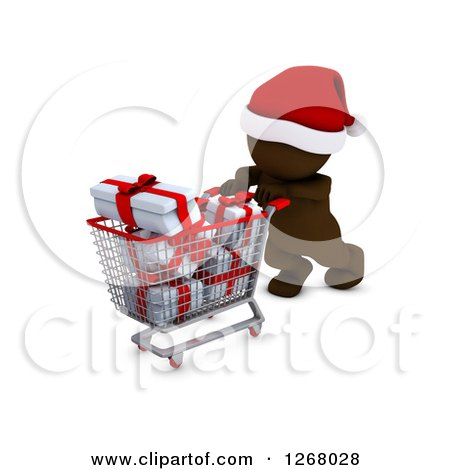 Clipart of a 3d Brown Man Christmas Shopping and Pushing Gifts in a Cart - Royalty Free Illustration by KJ Pargeter