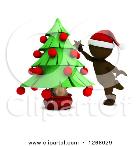 Clipart of a 3d Brown Man Decorating a Christmas Tree - Royalty Free Illustration by KJ Pargeter