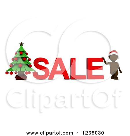 Clipart of a 3d Brown Man with SALE Text and a Christmas Tree - Royalty Free Illustration by KJ Pargeter
