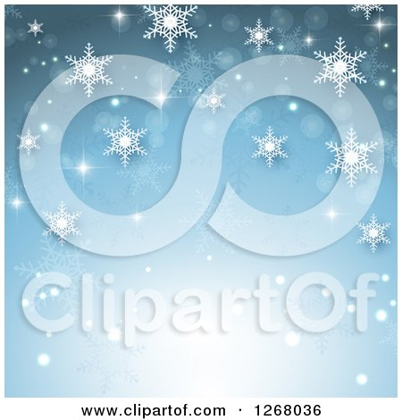 Clipart of a Blue Christmas Background with Snowflakes and Light - Royalty Free Vector Illustration by KJ Pargeter