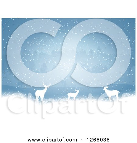 Clipart of a Background of White Silhouetted Alert Deer in the Snow Against Trees - Royalty Free Vector Illustration by KJ Pargeter
