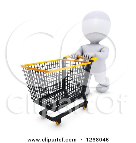 Clipart of a 3d White Man Shopping and Pushing an Empty Cart - Royalty Free Illustration by KJ Pargeter