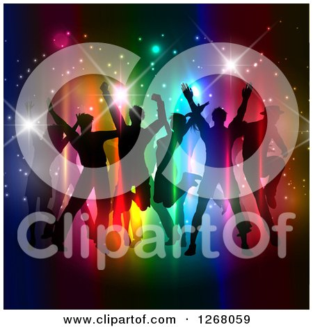 Clipart of a Silhouetted Group of People Dancing and Jumping over Colorful Lights and Flares - Royalty Free Vector Illustration by KJ Pargeter