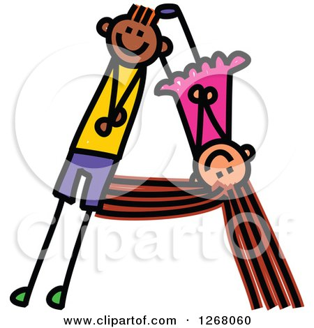 Clipart of a Stick Boy and Girl Forming Capital Letter a - Royalty Free Vector Illustration by Prawny