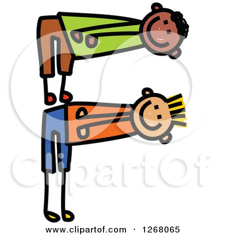 Clipart of Stick Boys Forming Capital Letter F - Royalty Free Vector Illustration by Prawny