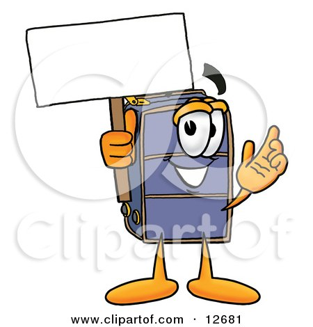 Clipart Picture of a Suitcase Cartoon Character Holding a Blank Sign by Toons4Biz