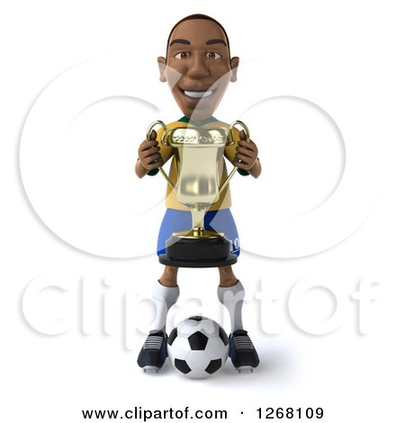Clipart of a 3d Black Brazilian Soccer Player Holding a Trophy - Royalty Free Illustration by Julos