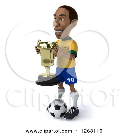 Clipart of a 3d Black Brazilian Soccer Player Facing Left and Holding a Trophy - Royalty Free Illustration by Julos