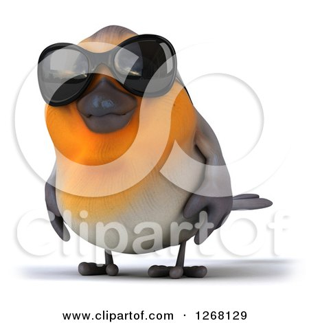 Clipart of a 3d Red Robin Bird Wearing Sunglasses - Royalty Free Illustration by Julos