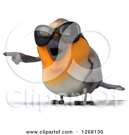 Clipart of a 3d Red Robin Bird Wearing Sunglasses and Pointing Left - Royalty Free Illustration by Julos