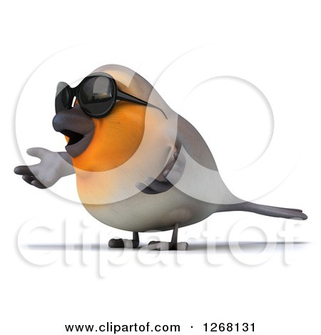 Clipart of a 3d Red Robin Bird Wearing Sunglasses and Shrugging to the Left - Royalty Free Illustration by Julos