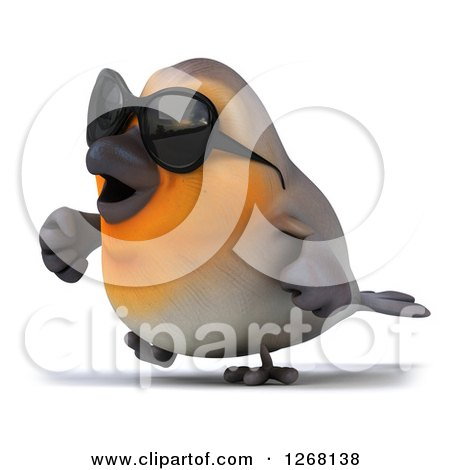 Clipart of a 3d Red Robin Bird Wearing Sunglasses and Walking 2 - Royalty Free Illustration by Julos