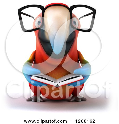 Clipart of a 3d Bespectacled Macaw Parrot Reading a Book - Royalty Free Illustration by Julos